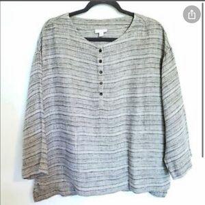 Pure J Jill 3/4 Sleeve Gray Linen Tunic M